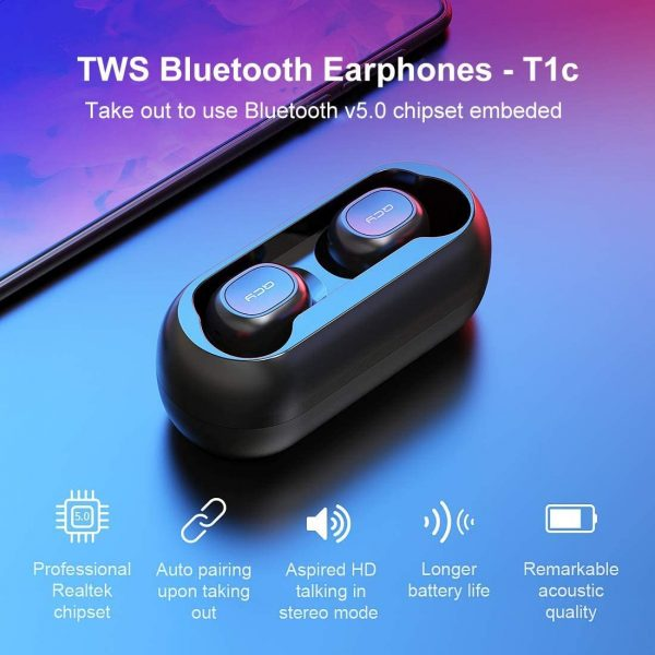 QCY T1 True Wireless Earbuds with Uncapped Charging Case, TWS 5.0 Bluetooth Headphones, Black.