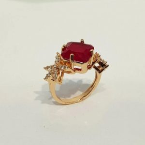 Zircon Studded Gold Polish Ring Ruby Gem