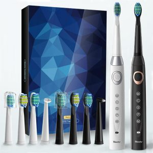 Sonic Electric Toothbrushes, Black and White.